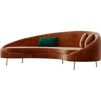 Modern Bronze Velvet Curved Sofa Gold Metal Toss Pillow Included, Bronze, Medium
