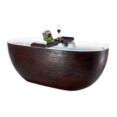 "67"" Freestanding Modern Acrylic Brown Wood Soaking Tub"