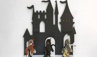 Деревянная полка Замок серый