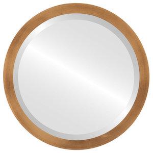 Manhattan Framed Round Mirror, Sunset Gold, 15x15