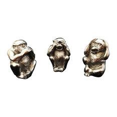 No Hear, No See, No Tell 3 Monkeys Statue, 3-Piece Set, Silver