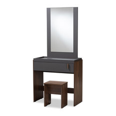Dolores Contemporary Two-Tone Gray and Walnut Bedroom Vanity With Stool