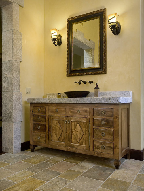 Lighting with architectural stone and antiques mediterranean style for Mediterranean bathroom lighting
