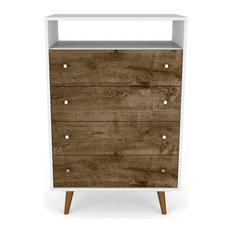Liberty 4-Drawer Dresser Chest, White and Rustic Brown