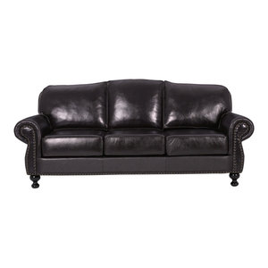Wiltshire Brown Leather Sofa Traditional Sofas By