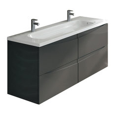 "Rome 48"" Gray Luxury Bathroom Vanity With Integrated White Acrylic Double Sink"