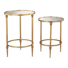Alcazar Accent Tables, Antique Gold And Mirror