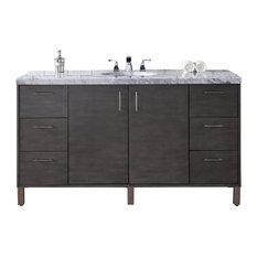 """Metropolitan 60"""" Single Vanity Silver Oak, Base Cabinet Only"""