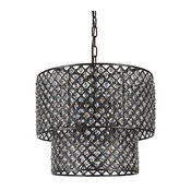 Marya 8-Light Antique Black Round Double Beaded Drum Shade Crystal Chandelier