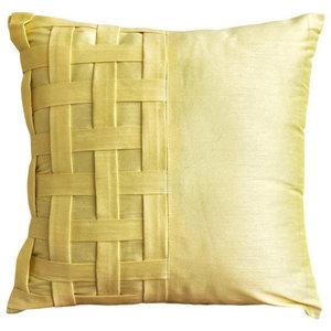 Textured Pintucks Yellow Shams, Art Silk 60x60 Pillow Sham, Yellow Brick Road