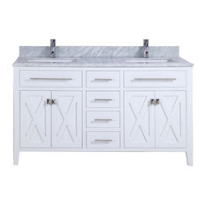 "Wimbledon Collection 60"" White Vanity with Countertop"