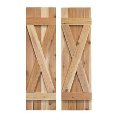 X Board and Batten Exterior Shutters Pair, Unfinished, 60""