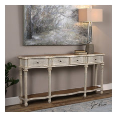 Uttermost - Uttermost 24583 Gaultier Aged White Console Table - Console Tables