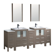 Fresca Torino Double Sink Vanity, 3 Side Cabinets, Integrated Sinks, Mirrors