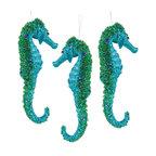 Coastal Seahorse Glittered Jeweled Teal Christmas Holiday Ornaments Set of 3