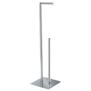 Free-Standing Chrome Stamford Toilet Roll and Spare Toilet Roll Holder