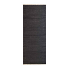 Carpets Hand Woven Kilim Woolen Contemporary Runner Rug, Charcoal, 3'x13'