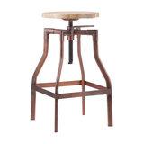Adjustable Industrial Swivel Stool Wood Top, Antique Copper, Medium