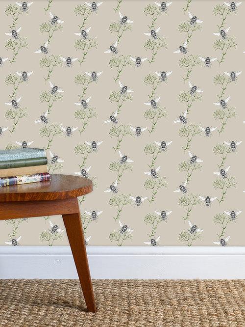 Bee & Gypsophila Stone Wallpaper - Wall Decor