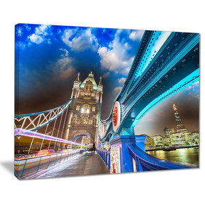 Night Over Tower Bridge In London Photograph Print Contemporary Prints And Posters By Design Art Usa Houzz