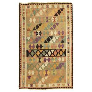 Kelim Fars Old Style Persian Rug, Hand-Woven, 243x152 cm