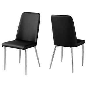 c3db9a174cca7 Monarch Black Leather Look and Metal 2-Piece Dining Chair