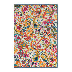 """Jolene Floral and Paisley Saffron, Bright Pink Area Rug, 7'10""""x10'3"""""""