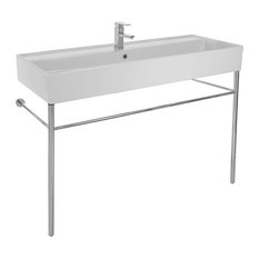 Large Ceramic Console Sink With Polished Chrome Stand, 1-Hole
