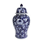 """18"""" Blue and White Porcelain Ginger Jar With Lid"""