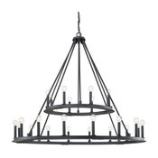 Pearson 24 Light Chandelier in Black Iron