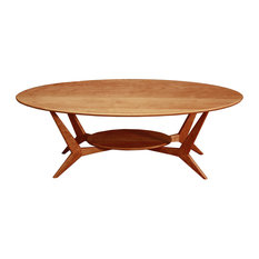 MidCentury Oval Coffee Table Solid Cherry