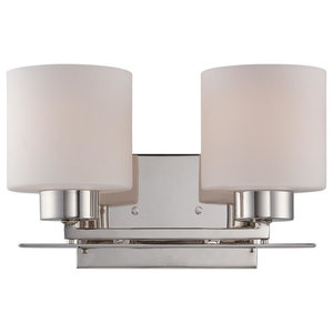 Parallel 2 Light Vanity Fixture with Etched Opal Glass, Opal