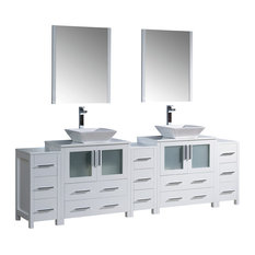 "Fresca Torino 96"" White Modern Double Sink Bathroom Vanity"