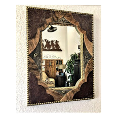 Leather Upholstered Barn Wood Mirror, 30x22