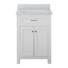 "Norwalk 24"" Bathroom Vanity With White Carrera Marble Top, White"