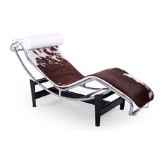 Gravity Cowhide Chaise Lounge, Brown, White Aniline Pillow