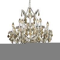 Elegant Maria Theresa 13-Light Golden Teak Chandelier