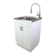 """Transolid 24"""" All-in-One Laundry/Utility Sink Kit, White/Stainless Steel"""