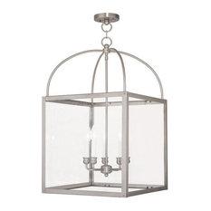 Livex Lighting Inc. - Livex Lighting Milford Outdoor Hanging Lanterns, Brushed Nickel - Outdoor Hanging Lights