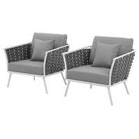 Modern Outdoor Lounge Chair Armchair, Set of 2, Fabric Aluminium, White Gray