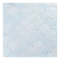 Beta 2.44 in. x 5 in. Fish Scale Polished Ceramic Wall Tile (4.06 sqft), Sky Blu