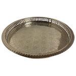"Marrakesh Tea Time - Marrakesh Tea Time Moroccan Engraved Silver Serving Tray Round 15"" with Gift Box - Moroccan Tea Silver Tray Engraved Arabic Pattern Design round 15"" diameter"