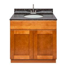 Brown Bathroom Vanity 36-inch Tan Brown Granite Top Faucet LB6B