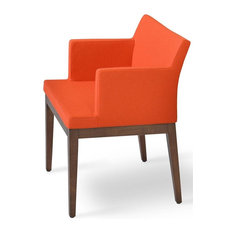 Wood Armchair, Orange With American Walnut Base
