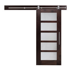 "5 Lite Walnut Hardwood Sliding Barn Door with Glasssert, Full-Private, 48""x84"