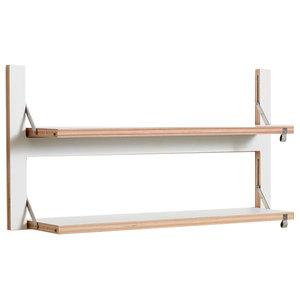 Fläpps Double Slim Birch Plywood Shelf, White