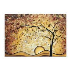 Landscape Painting 'Golden Rhapsody', Abstract Tree Art on Acrylic