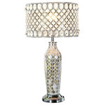 """River of Goods - 25""""H Pearl Mosaic and Crystal Glass Table Lamp - Silver - A beautifully crafted crystal glass beaded 25"""" table lamp with mosaic glass base. The metal shade features a simple and transitional pattern with clear hanging glass crystals. The base is an iridescent mosaic glass design with creams and pinks. A statement piece for your living room, bedroom or office space."""
