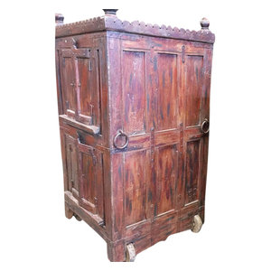 Mogul Interior - Consigned Antique Armoire Furniture Vintage Indian Red Cabinet on wheel - Armoires And Wardrobes
