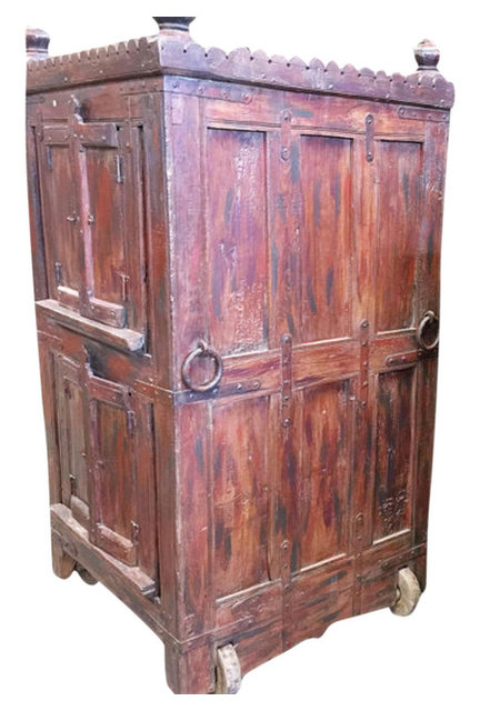 Consigned Antique Armoire Furniture Vintage Indian Red Cabinet On Wheel